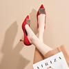 卡卡妮亚婚鞋女2018新娘鞋水钻红色高跟鞋女细跟ol尖头单鞋女