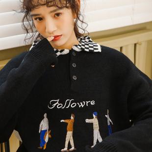 毛衣女2018冬季长袖学生POLO领上衣翻领宽松套头针织衫潮