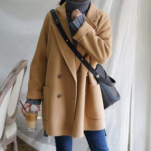 2018秋冬装赫本风妮子大衣加厚中长款小个子毛呢子大衣外套女