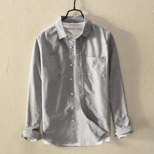 日系加厚纯棉长袖衬衫男士寸衫秋冬加绒保暖打底白色衬衣