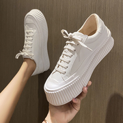 全牛皮~厚底内增高女鞋小白鞋女2021休闲板鞋真皮松糕饼干鞋