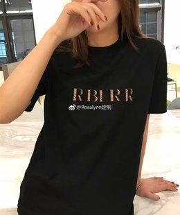 19春夏百搭单品 洋气的黑色格子字母简约圆领T恤上衣