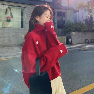 2018爱心高领网红圣诞毛衣女慵懒风套头宽松加厚情侣装冬