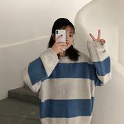秋冬chic慵懒百搭上衣ins超火宽松网红针织衫套头长袖毛衣女