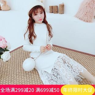 公主家冬装浪漫蕾丝拼接针织长裙女显瘦纯白毛衣裙打底裙