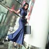 VJE夏装裙子中长款潮洋气短袖西装领过膝收腰修身连衣裙