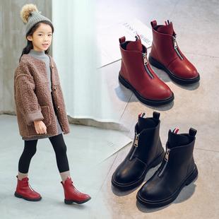 女童靴子儿童短靴中筒公主鞋马丁靴小女孩棉靴保暖宝宝雪地靴