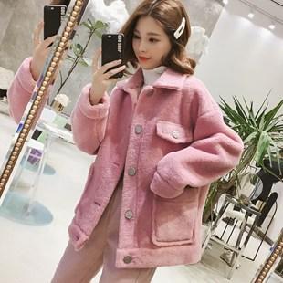 羊羔毛外套女2018冬季单排扣小个子夹克学生宽松上衣