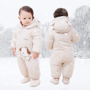 婴儿连体衣服秋冬季加厚套装网红宝宝保暖棉衣冬装新生儿外出抱衣