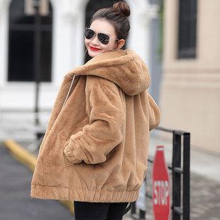兔毛连帽外套女中长款2018冬季宽松毛绒长袖貂绒毛毛卫衣