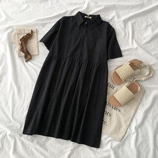 小个子翻领短袖连衣裙夏季2019女装学生流行单排扣短裙子