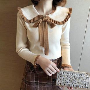2019春甜美长袖打底衫毛衣女士荷叶领蝴蝶结chic针织衫