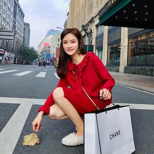 2019法国小众大红色针织连衣裙女春法式维多利亚复古小红裙子