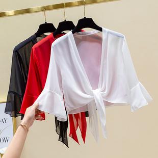 披肩女外搭夏季配吊带裙的小外套洋气短款雪纺薄款防晒衣大码开衫