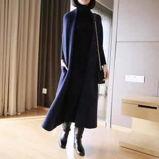 春季外搭开衫毛衣女2019中长款大码披肩加厚宽松短袖针织外套