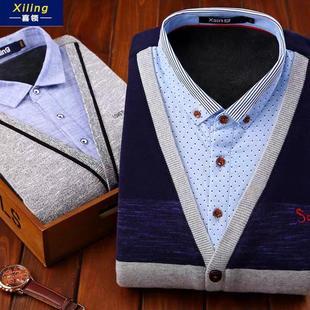冬季男士加绒加厚保暖衬衫男假两件青年中年爸爸装长袖上衣针织衫