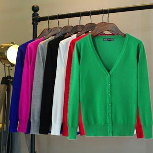 春秋装开衫薄款女 针织长袖百搭小外套显瘦短款v领空调衫外搭