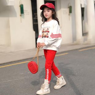 童装女童春装运动套装2019大童春秋卫衣服儿童时髦洋气两件套
