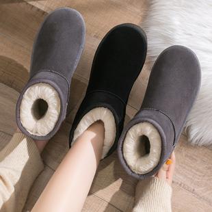 雪地靴女短筒2021冬季雪地棉鞋加绒加厚面包鞋防滑保暖女靴子