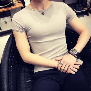 短袖t恤男纯色紧身半袖潮男士体恤衫加绒加厚纯棉打底衫