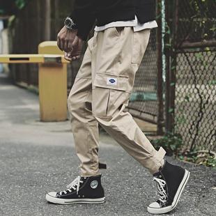 秋冬季日系潮牌男士加绒工装裤宽松束脚学生嘻哈裤子