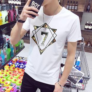 夏季日系男士T恤男短袖圆领体恤半袖衣服男装打底衫潮流