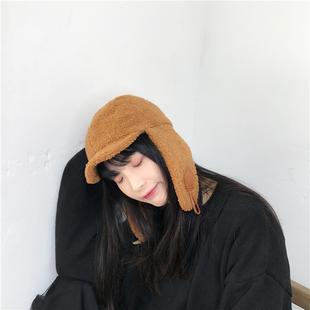 雷锋帽女秋冬天防风保暖加厚羊毛羔牛角扣护耳帽日系可爱滑雪帽子