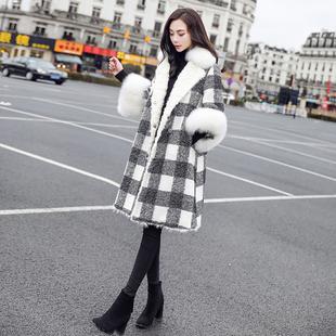 2018女装冬装宽松大码中长款棉衣外套大毛领棉袄格子加厚大衣