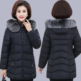 妈妈冬装棉衣外套2018中年加厚棉袄中老年女装中长款羽绒棉服