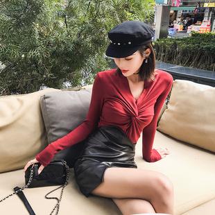 唐家欧美2018秋冬酒红色深性感V领褶皱紧身长袖针织打底衫T恤