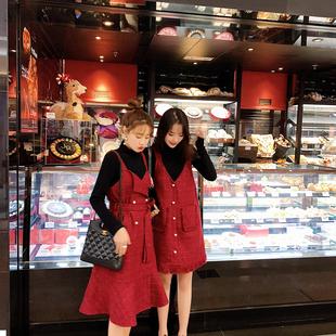 2019春装潮流女装 粗花呢V领吊带很仙的红色连衣裙闺蜜装女冬