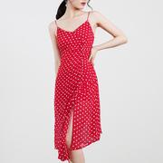 TANSSHOP 法式度假小绣花红色系 露背绑带抽皱吊带雪纺连衣裙D534