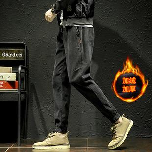 灯芯绒裤男士冬季加绒九分裤日系宽松小脚裤束脚长裤子潮