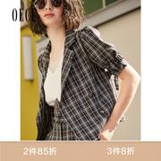Oece2019夏装女装 复古格纹英伦翻领短款西装短袖外套