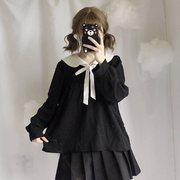 秋装女装日系甜美学院风海军领绑带上衣百搭长袖学生雪纺衫潮