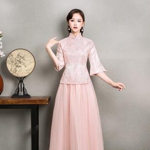 中式伴娘服女姐妹团礼服2019春季民国风复古风中国风旗袍