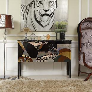 黑色大理石后现代简约摩登新古典客厅家具餐边橱柜沙发背柜玄关柜