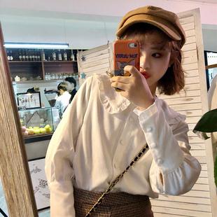 春季女装chic气质娃娃领木耳花边白衬衫宽松打底衬衣上衣