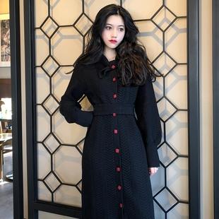 维多利亚复古裙秋冬法式少女宫廷针织法国小众连衣裙娃娃裙