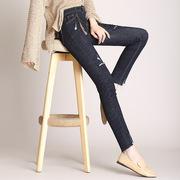 小脚牛仔裤雅思诚女伊利莎黛女显瘦弹力高腰九分裤破洞铅笔裤