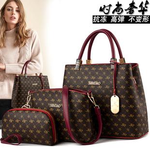 袋鼠时尚真皮女士包包2019欧美大容量手提单肩斜跨百搭皮包潮
