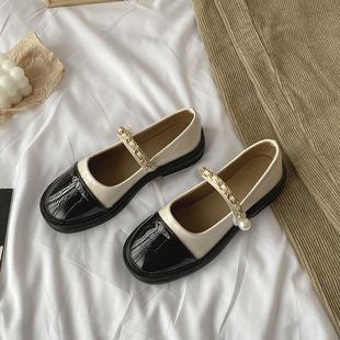 玛丽珍小皮鞋女夏英伦风复古2021薄款平底日系一脚蹬法式单鞋
