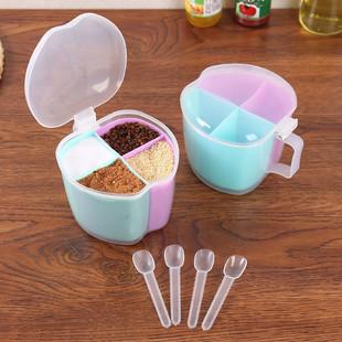 厨房带勺多格调料盒套装塑料调味盒糖味精调料罐盐罐佐料盒调味罐