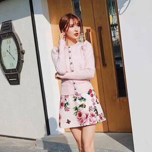 SAMI-SAMI高级定制玫瑰花扣经典羊毛毛衣套装