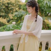 配吊带裙子雪纺衫短款小披肩薄款仙女白色防晒衣百搭空调衫外搭潮