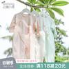 新生婴儿连体衣服夏季薄款宝宝春秋装0岁1纯棉空调服长袖护肚睡衣