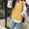 秋款韩版学院风v领黄色毛衣背心坎肩韩系叠穿宽松针织马甲女外穿
