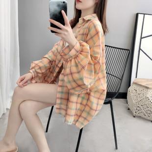 宽松格子衬衫女2019春装ins潮很仙的上衣设计感小众衬衣