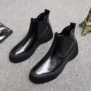 欧洲站女鞋2018秋冬漆皮圆头平底厚底坡跟马丁靴潮女短靴踝靴