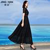 雪纺连衣裙2019夏流行裙子长款黑色收腰大摆有女人味的长裙女